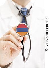National flag on stethoscope conceptual series - Armenia