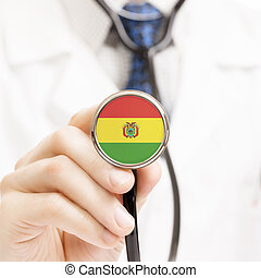 National flag on stethoscope conceptual series - Bolivia