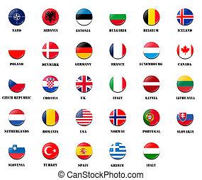 national flags from NATO (North Atlantic Treaty Organization) members