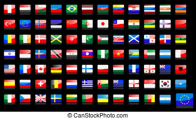 National flags icons - Big set of national flag icons in...