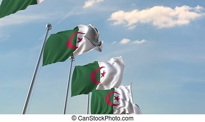 National flags of Algeria. Loopable 3D animation - Many...