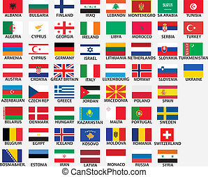 national flags of all european countries, whole countries...