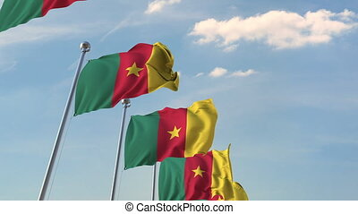 National flags of Cameroon. Loopable 3D animation - Many...