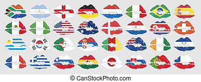 national flags of countries starting with south africa in lip shape with no additional effect
