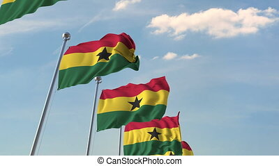 National flags of Ghana. Loopable 3D animation - Many waving...