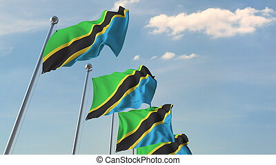 National flags of Tanzania. 3D rendering