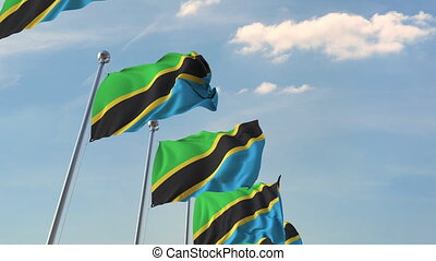 National flags of Tanzania. Loopable 3D animation - Many...