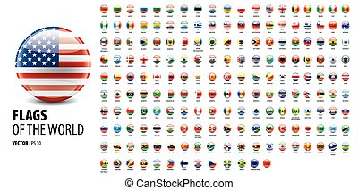 National flags of the countries. Vector illustration on white background
