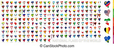National Flags of the World in Shape of Heart. Heart icon set with the flags of the world, flags sorted alphabetical.