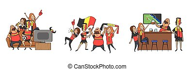 National football team supporters cheering at home, in the bar together. Set of football fans with national attributes. Colored flat vector illustration. Isolated on white background.