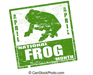 Abstract green grunge rubber stamp with frog shape and the text National Frog Month written inside the stamp and
