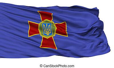 National Guard Of Ukraine Flag, Isolated On White...