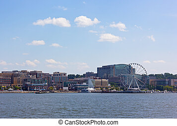 National Harbor waterfront panorama in Oxon Hill, Maryland, USA.