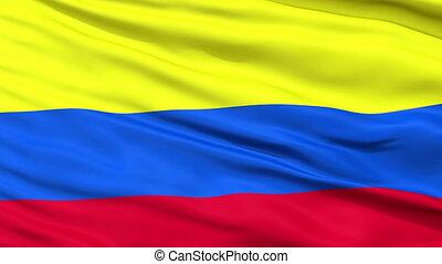national, haut, drapeau ondulant, colombie, fin
