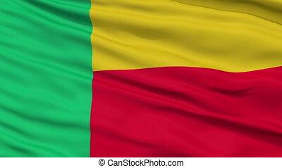 national, haut, drapeau ondulant, fin, bénin