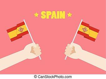 national, haut, drapeaux, tenant mains, jour, espagne