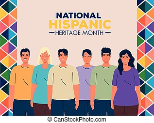 national hispanic heritage month with group of people multiethnic vector illustration design