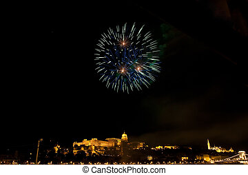 National holiday in Budapest - Fireworks over Buda Castle on...