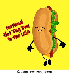 National Hot Dog Day poster with funny cartoon hot dog. Hot dog day label or stamp.