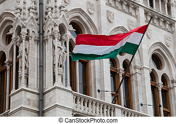 National hungarian flag waving on wind