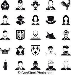 National icons set, simple style