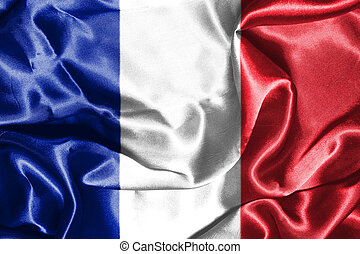 national, illustration, france, drapeau ondulant, vent, 3d