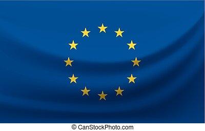 national, illustration, union., drapeau ondulant, vecteur, européen