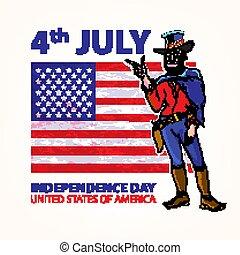 national independence day of the cowboy background Vintage Retro Clip Art. Sketch vector illustration