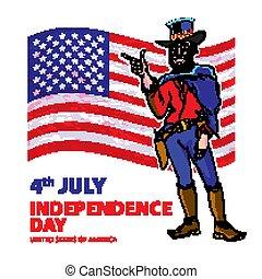 national independence day of the cowboy background Vintage Retro Clip Art men. Sketch vector illustration