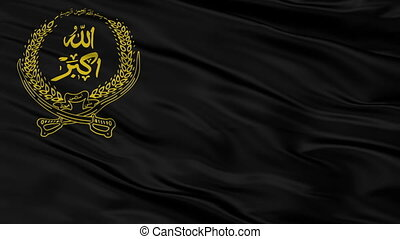 The National Islamic Front Of Afghanistan Flag, Closeup View Realistic Animation Seamless Loop - 10 Seconds Long