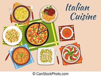 National italian cuisine menu dishes