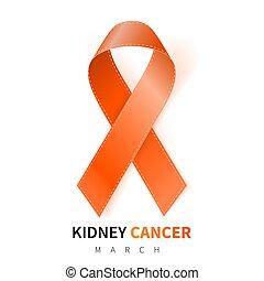 National Kidney Cancer Awareness Month. Realistic Orange ribbon symbol. Medical Design. Vector illustration