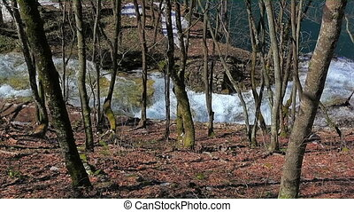 national, lacs, plitvice, parc, chute eau, croatie