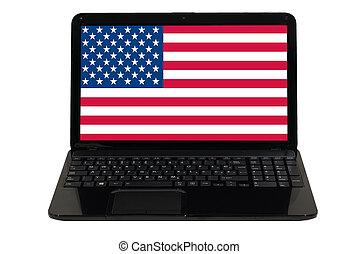 national, laptop-computer, fahne, amerika