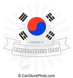 National Liberation Day, vector illustration of South Korea Map