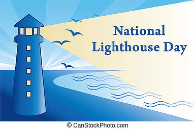 August 7th is designated as National Lighthouse day since 1989, to celebrate lighthouses across America. Coast landscape, seaside lighthouse with beacon, text. EPS8 compatible.