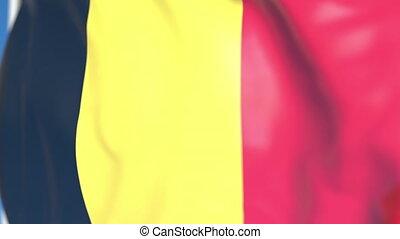 national, loopable, drapeau ondulant, animation, belgique, gros plan, 3d