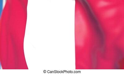 national, loopable, drapeau ondulant, animation, pérou, gros plan, 3d