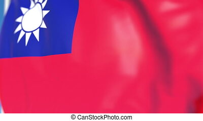 national, loopable, drapeau ondulant, animation, taiwan, gros plan, 3d
