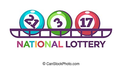 National lottery promotional logotype with numbered balls on...