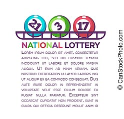 National lottery promotional poster with numbered balls and...
