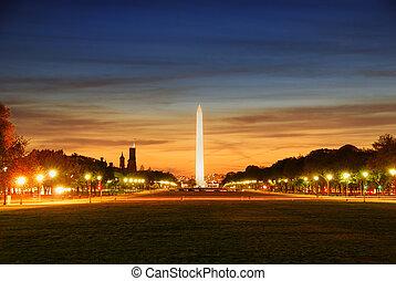 Washington DC - National mall illuminated at night,...