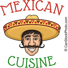 National mexican cuisine chef in sombrero