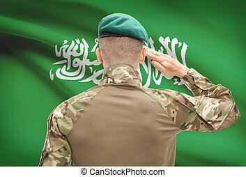 National military forces with flag on background conceptual ...