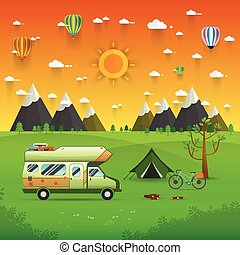 National mountain park camping scene with family trailer caravan