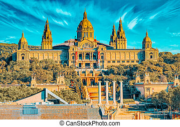 National Museum in Barcelona (Museu Nacional d Art de Catalunya), located near Placa De Espanya, Catalonia. Spain.