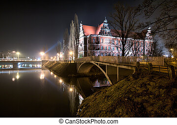 National Museum in the night, Wroclaw