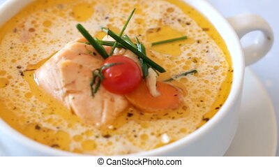 National Norwegian cream salmon soup with carrots and ...