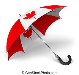 national, parapluie, drapeau, canadien