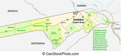 National park and conservancy map of the Caprivi Strip in the north east of Namibia